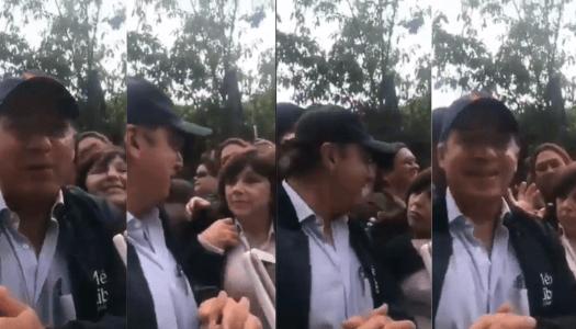 Felipe Calderón calla de mal modo a señora que iba a apoyarlo y ésta se enoja y se va