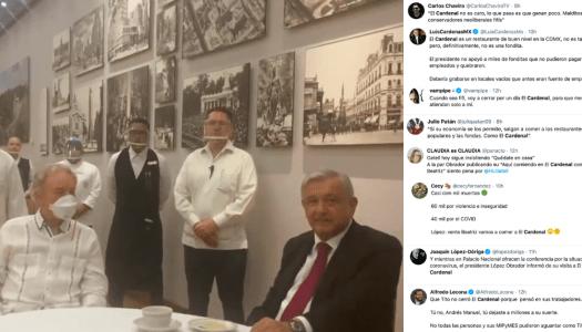 Oposición estalla porque AMLO va a comer al restaurante El Cardenal
