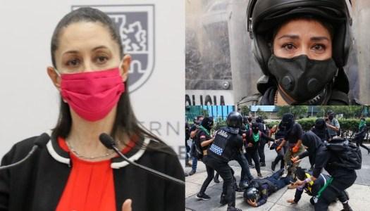 Sheinbaum a feministas: ¿es justificable que una policía sea martillada en la cabeza?