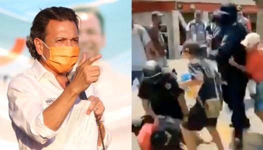 Policías reprimen a niños en mitin del candidato de MC, Pablo Lemus