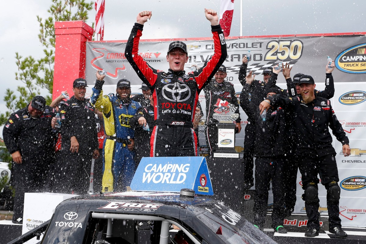 BOWMANVILLE, ON - AUGUST 30:  Erik Jones, driver of the #4 Toyota Toyota, celebrates in victory lane after winning during the NASCAR Camping World Truck Series Chevrolet Silverado 250 at Canadian Tire Motorsport Park on August 30, 2015 in Bowmanville, Ontario, Canada.  (Photo by Jeff Zelevansky/NASCAR via Getty Images)