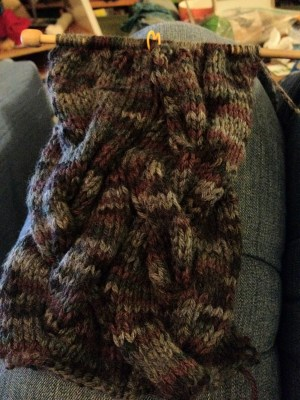 Very Braidy Cowl--in progress