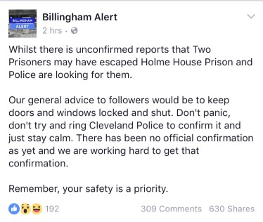 Unconfirmed: reports of Escaped Prisoner from Holme House Prison 2