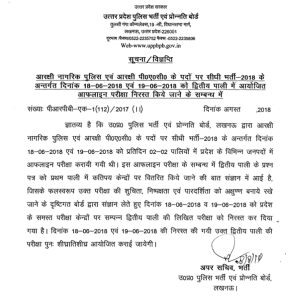 UP Police Constable Paper Cancel News
