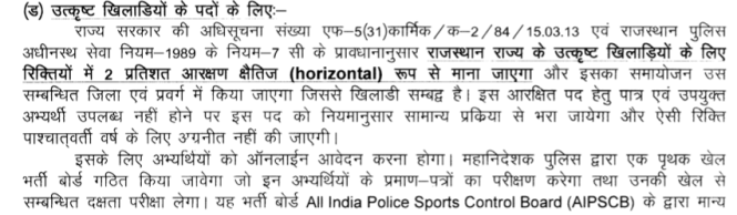 Rajasthan Police Sports Documents Details