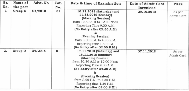 Haryana Group D Exam Date