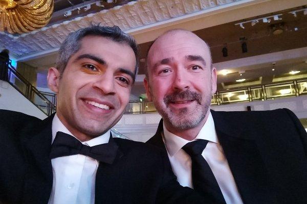 Deven Ghelani and Mark Fowler, Croydon Council, celebrating at LGC Awards 2017