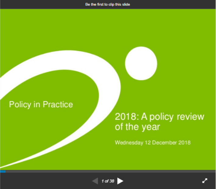 Policy in Practice did a webinar policy review of the year for 2018