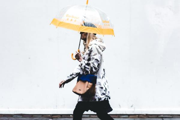 Photo image of young person walking holding an umbrella and wearing yellow wellies to illustrate a blog about the access young people have to work