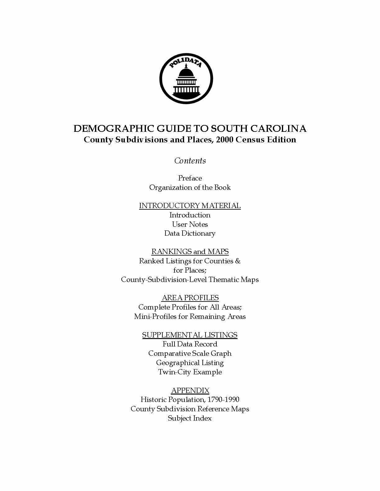 Polidata South Carolina Demographic Guide Bibliographic Info