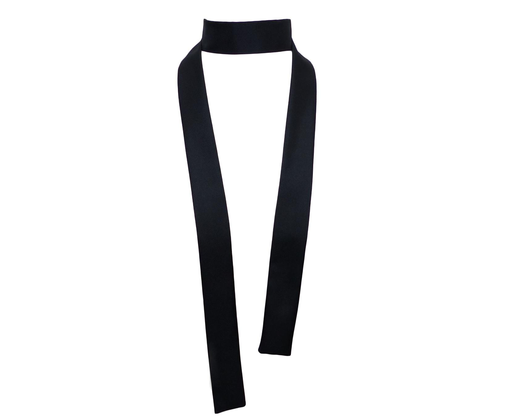 Foulard cravate   écharpe fine, noir, long et étroit, en twill de soie 2ec32cd2717