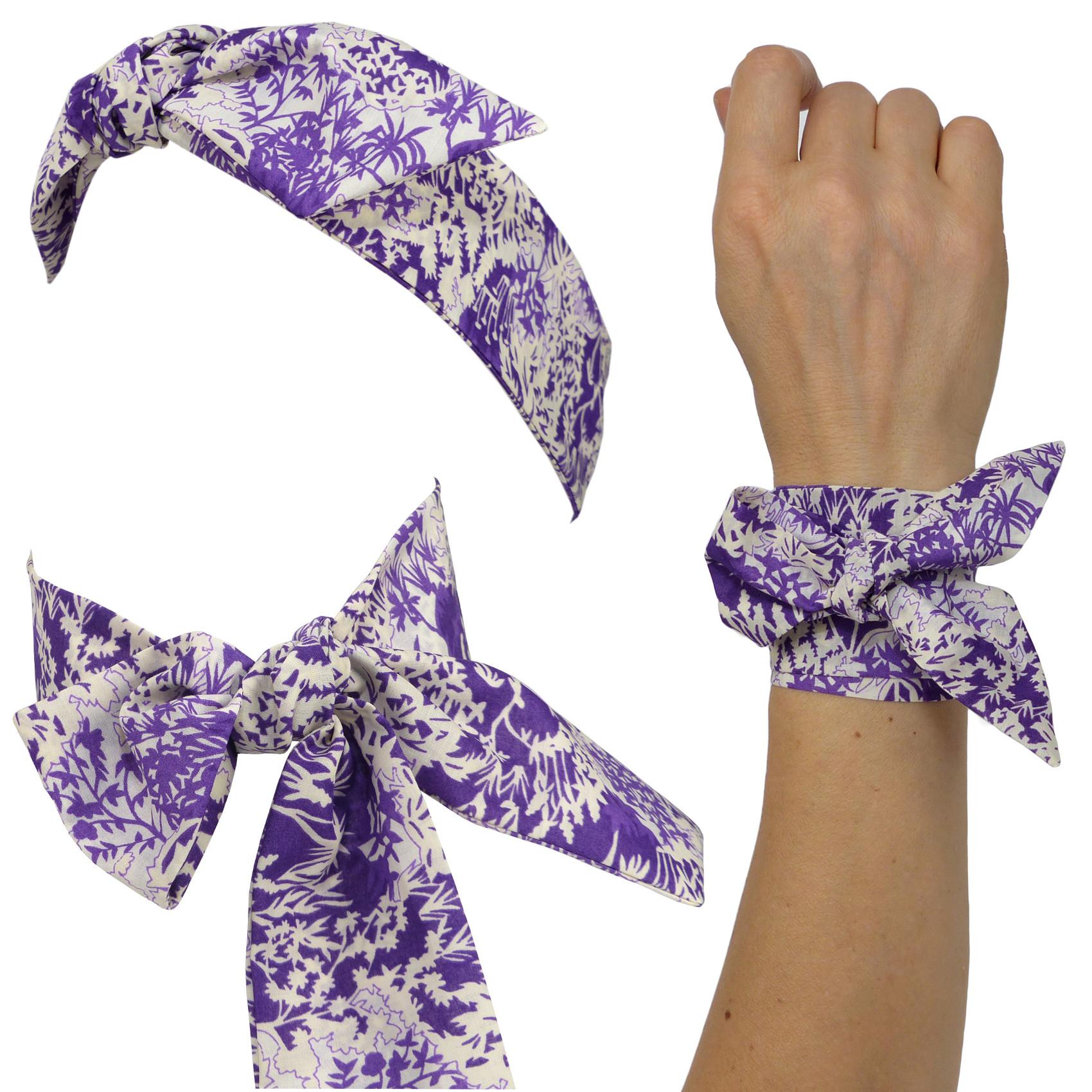 532974d727c5 Petit foulard   Bandeau à nouer en tissu coton Liberty of London, Motif  floral