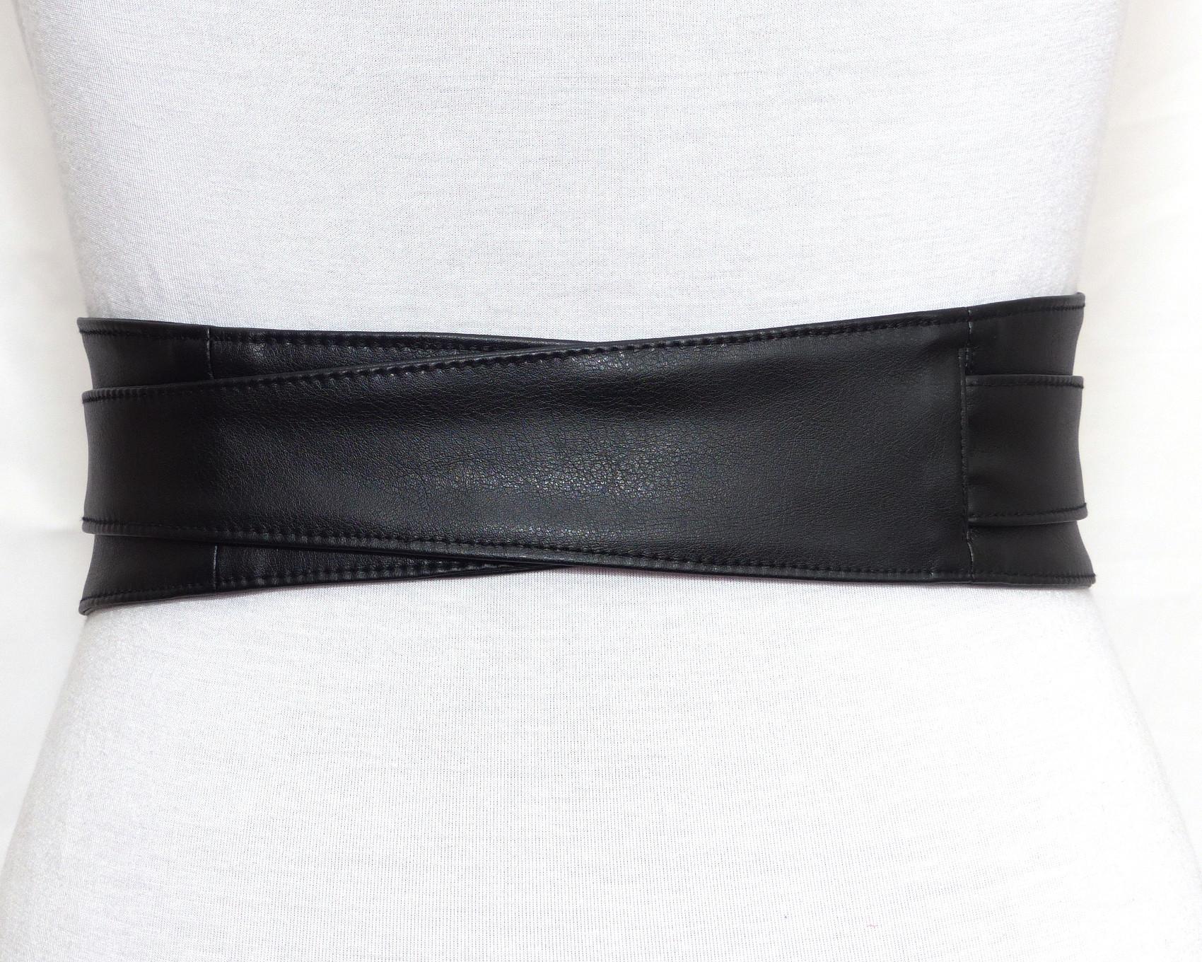 Ceinture Obi Cuir Noir à nouer – Polina Couture 4ae1b823425