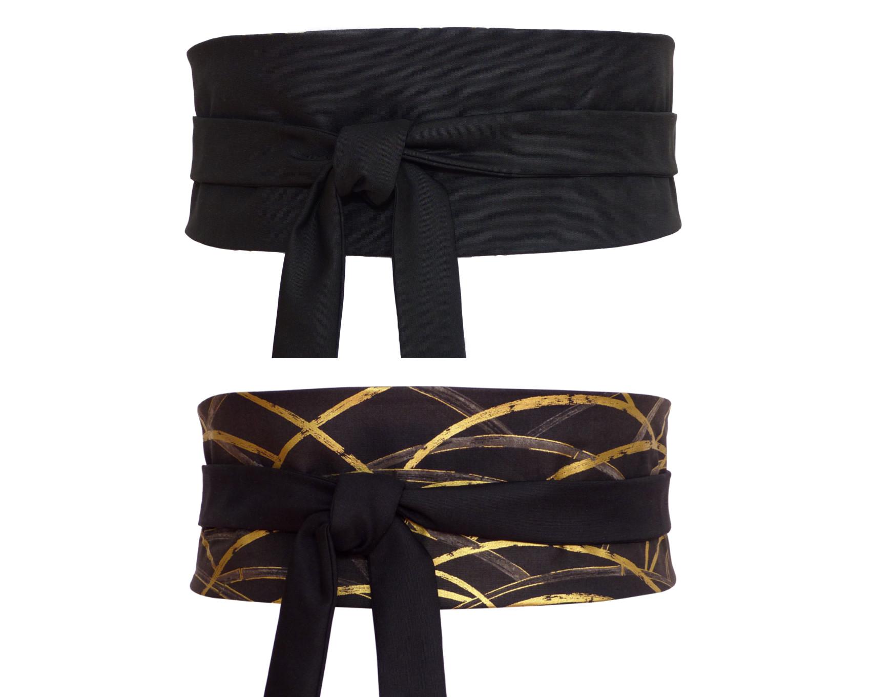 Ceinture Obi noire à nouer en soie, réversible sur un tissu japonais avec  motif de 9e4652f536d