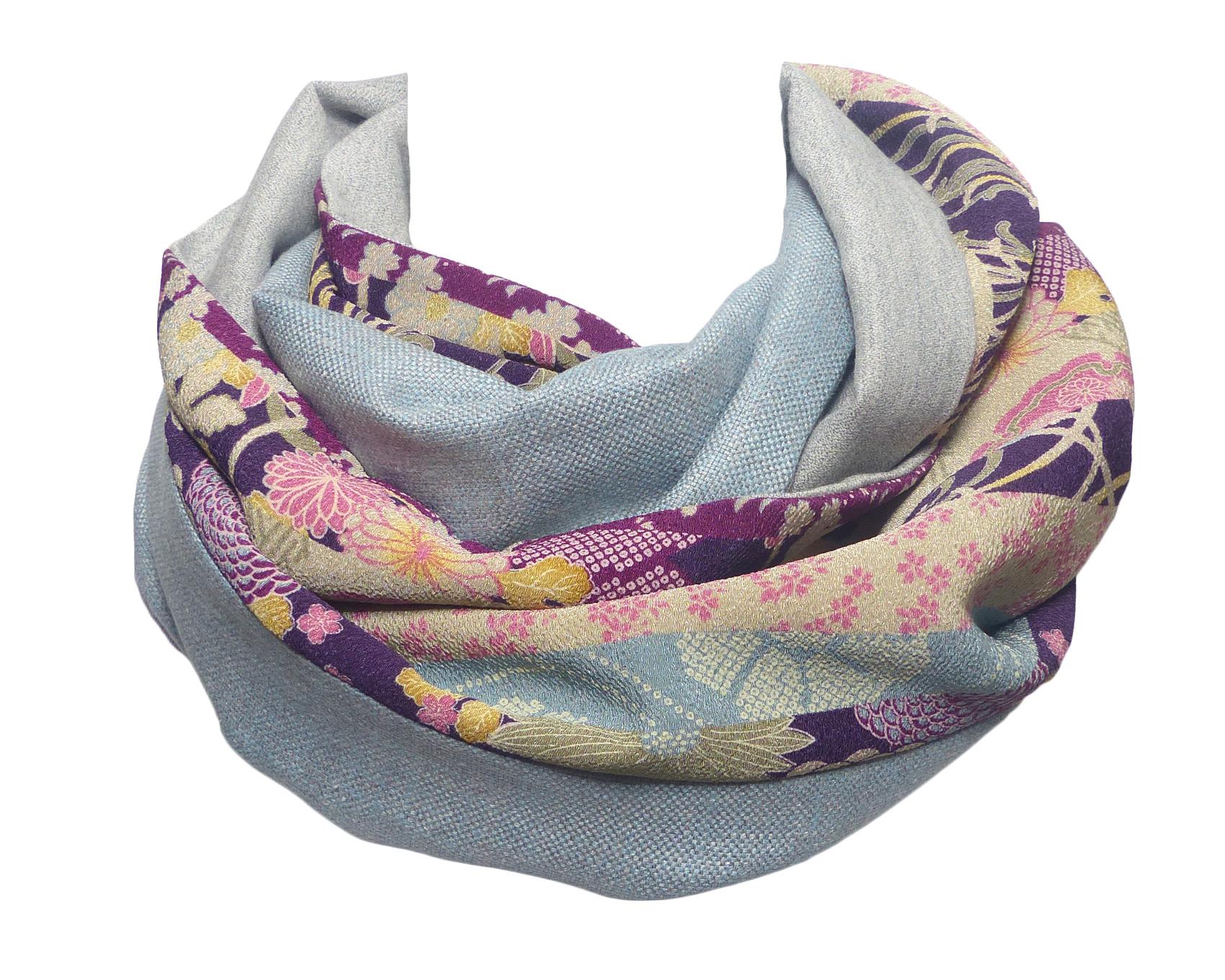 Echarpe Laine Bleu Gris   Crepe Japonais Fleuri Prune – Polina Couture 28c5af319b8