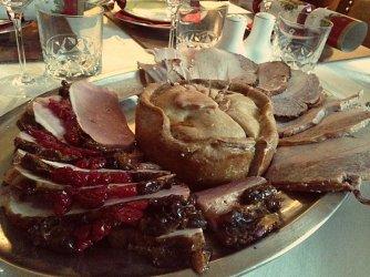 Cold meat platter Christmas game pie ham turkey Polina Skrebneva blog