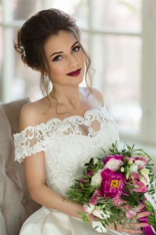 Образ невесты для свадьбы в стиле Марсала