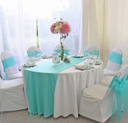 Дорожка на гостевые столы в мятном цвете