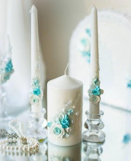 Свечи декупаж на свадьбу в мятном цвете