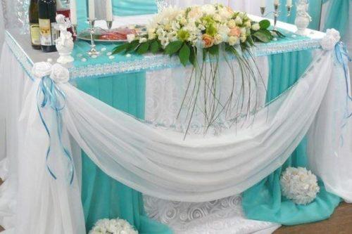 Оформление свадебного зала в цвете морской волны цена