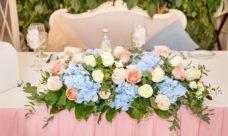 Украшение стола на свадьбу живыми цветами Москва