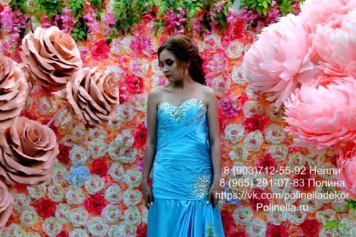 Фотозона стена из персиковых цветов