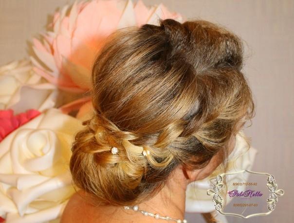 Прическа невесты низкий пучок на длинные волосы