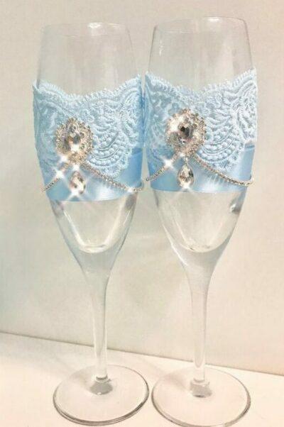 Бокалы свадебные голубые