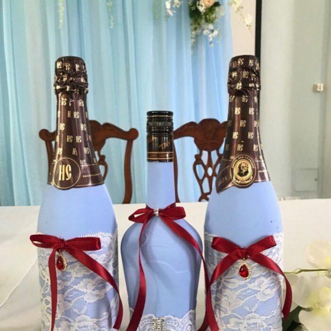 Декор шампанского на свадьбу.