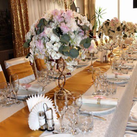 Цвет зала свадьбы золотой