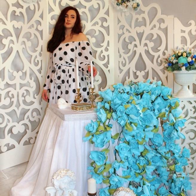 Свадьба в голубом цвете с ширмой
