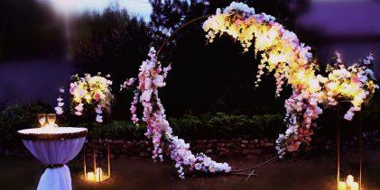 Украшение круглой арки на свадьбу