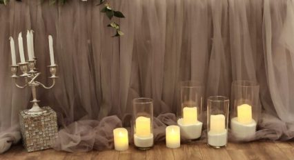 Оформление зала на свадьбу в серо-зеленом цвете