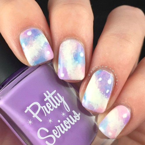 Pastel galaxy nails using Pretty Serious Cosmetics and Powder Perfect polishes - Polish and Paws