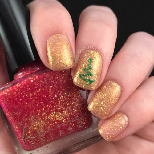 Thermal christmas tree nails using Femme Fatale Cosmetics Clever Girl - Polish and Paws Blog