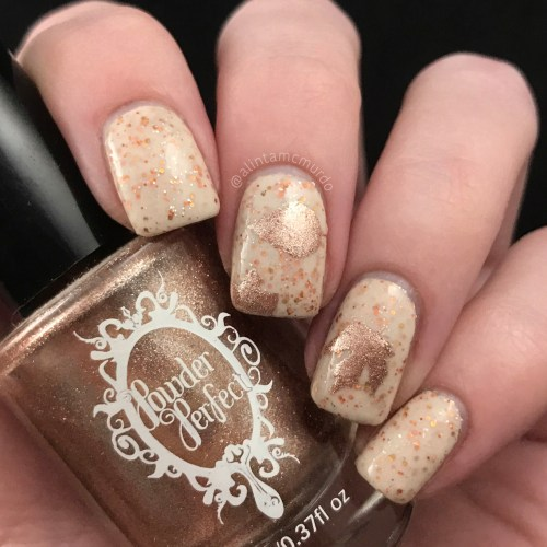 Falling leaves nail art with Painted Polish Here's To Three Years: The Crelly and Powder Perfect Gilded Beauty