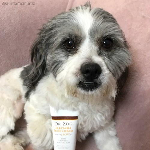 Kobi with the Dr Zoo Irritable Skin Cream for dry irritable and itchy skin