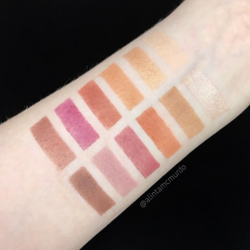 BYS Berries eyeshadow palette with Antique and Shaded on the left through to Peachy and Radiance on the right
