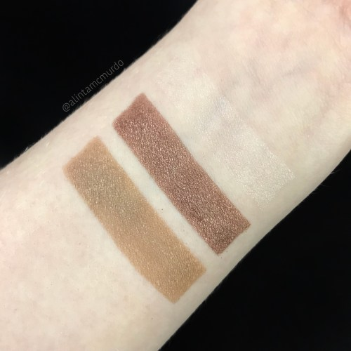 Swatches of the Eco Minerals Mineral Eye Color in Middle Earth and Indian Summer and the White Light Mineral Illuminate