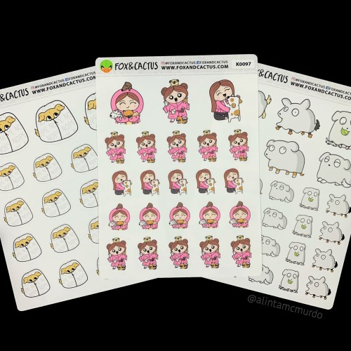 Fox and Cactus hand drawn dog planner stickers - polish and paws blog