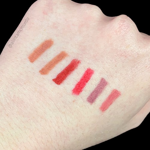Eye Of Horus Cosmetics Artistry Lip Liner swatches - Left to right - Arabian Sands, Egyptian Rose, Pure Scarlet, Persian Chilli, Royal Orchid and Sacred Hibiscus - polish and paws cruelty free beauty blog