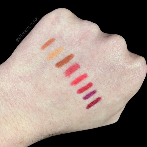 Flower Beauty Petal Pout Lip Liner swatches - top to bottom - Nude, Beige, Toffee, Rose, Fuchsia, Cherry, Violet and Plum - polish and paws cruelty free beauty blog