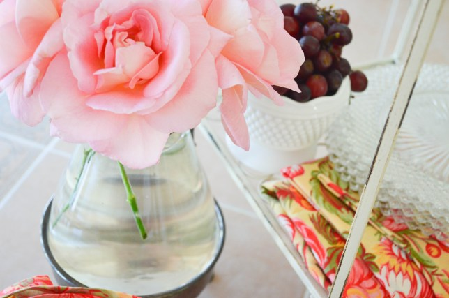 Fresh flowers and fruit
