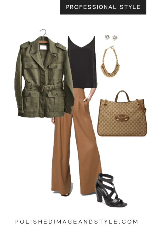 professional style Summer brown tone neutrals pants look