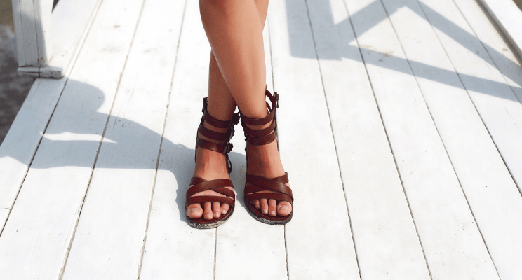 Summer Sandal Trends Cover Image - Brown Strappy Sandal Flats