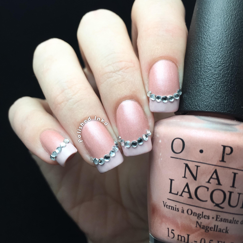 French Manicure With Rhinestones Nail Art Polished Inka