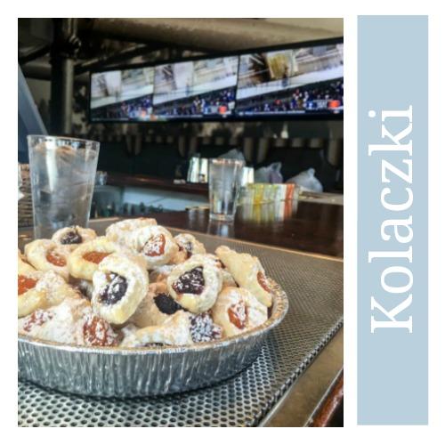 Kolaczki - Polish Cookies in aluminum pan in sports bar