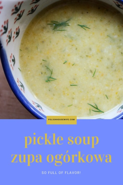 Zupa Ogórkowa Polish Pickle Soup in  a Polish pottery bowl