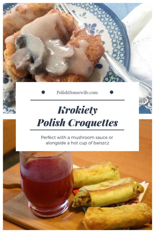 Polish croquettes, krokiety, with mushroom sauce and alongside barszcz
