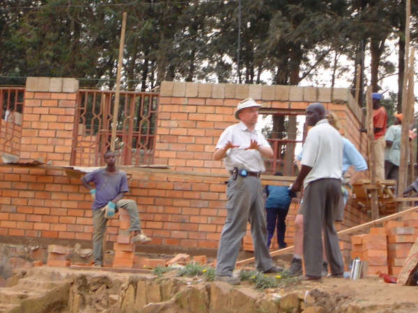 building a classroom in Rwanda using local tradesmen or fundis